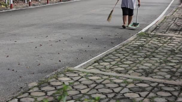 Pracovní zametání listí na silnici