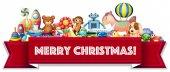 Veselé Vánoce znamení s mnoha hračkami
