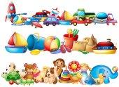 Sada různých typů hraček