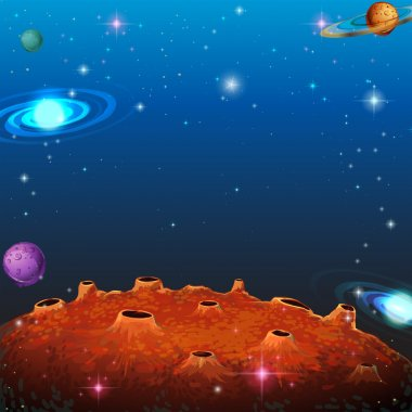 Space scene with many planets