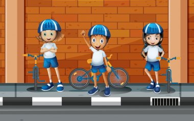 Children riding bicycle on the road