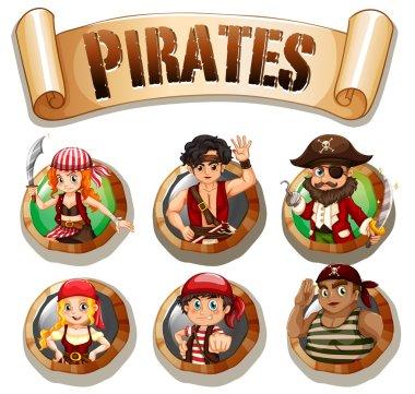 Pirates on round badges