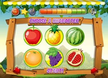 Game template with fresh fruits background