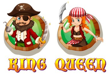 Viking king and queen on badges