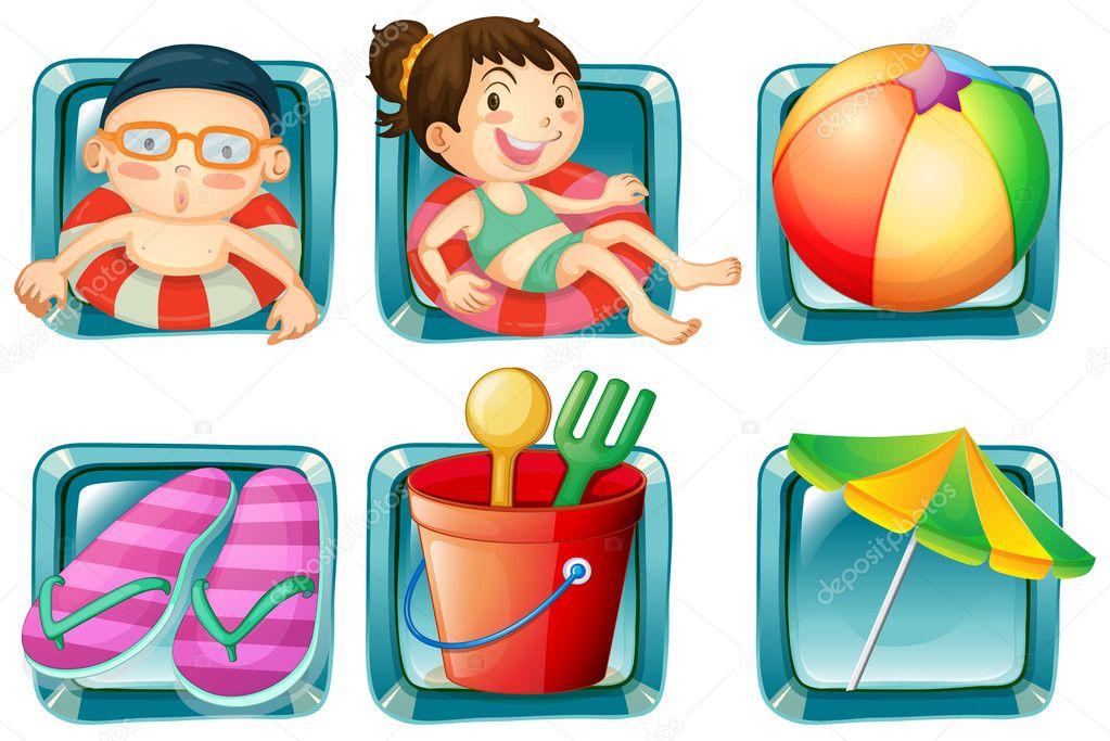 crianças e objetos de praia quadrado emblemas vetor de stock