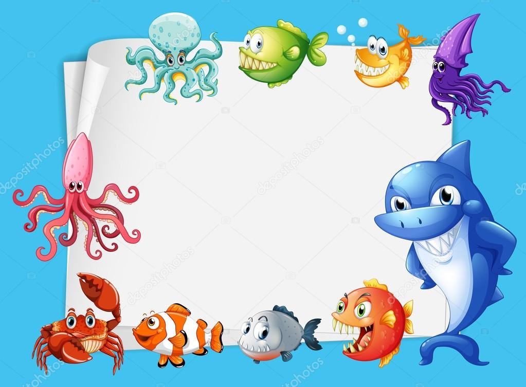 Diseño de marco con fondo de animales de mar — Archivo Imágenes ...