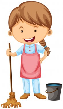 Cleaner with apron and broom