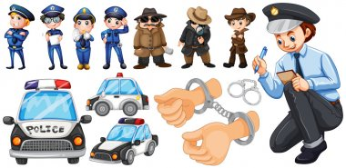 Police officers and police car set