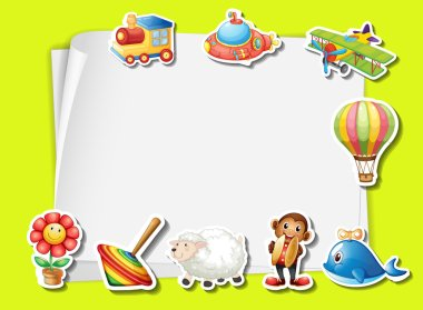 Paper template with many toys