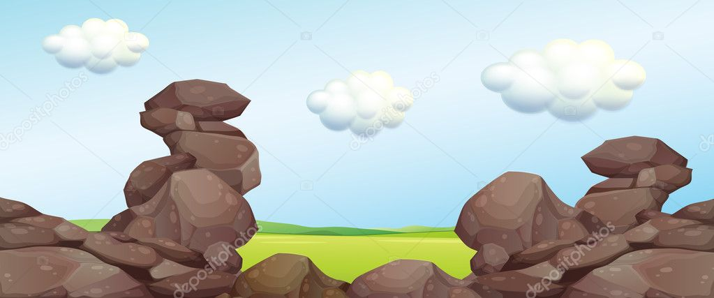 Nature scene with rocks and field