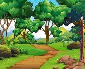 A pálya és a fák természet jelenet