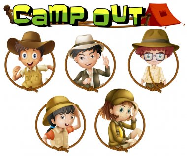 Kids in safari outfit on round badges