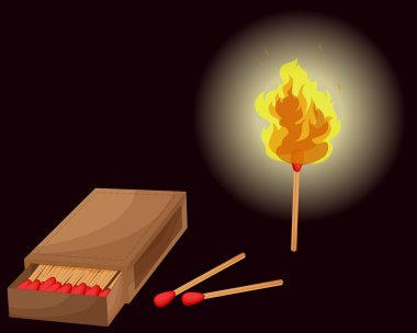 Matchbox and lighted match