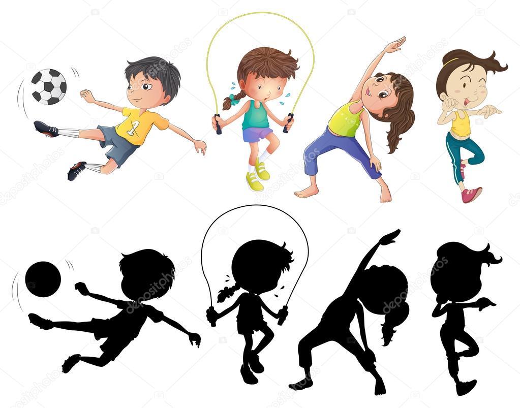 Deportes Diferentes Deportes: Personas Haciendo Diferentes Deportes Con Silueta