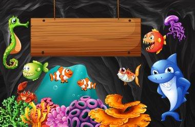 Sea animals swimming around wooden sign