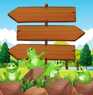 Sign template with frogs on rocks