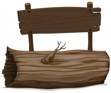 Wooden log and sign