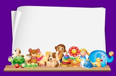 Paper template with lots of toys