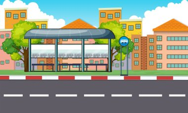 City scene with bus stop and buildings