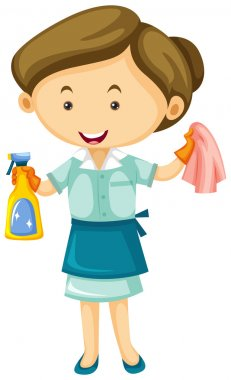 Maid with cleaner spray and cloth