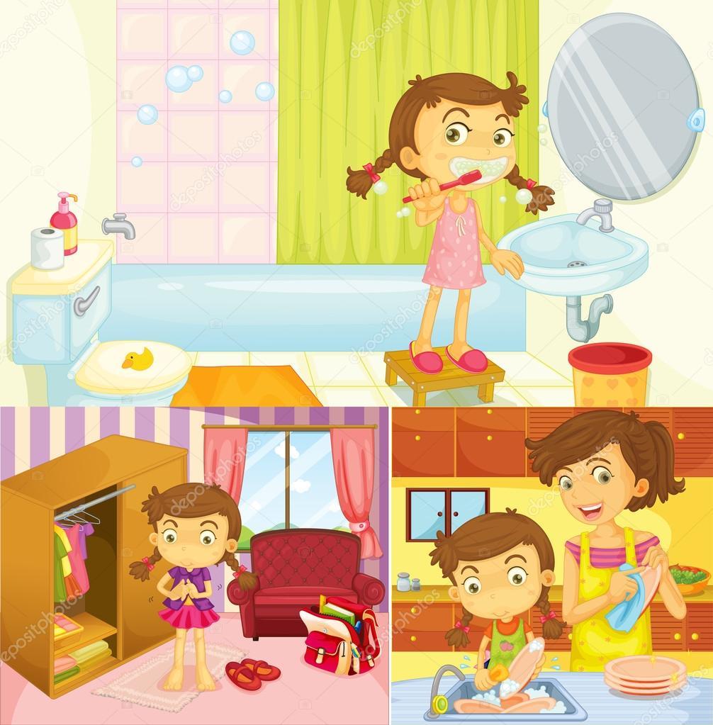 Chica haciendo diferentes actividades en el hogar vector for Cosas de hogar