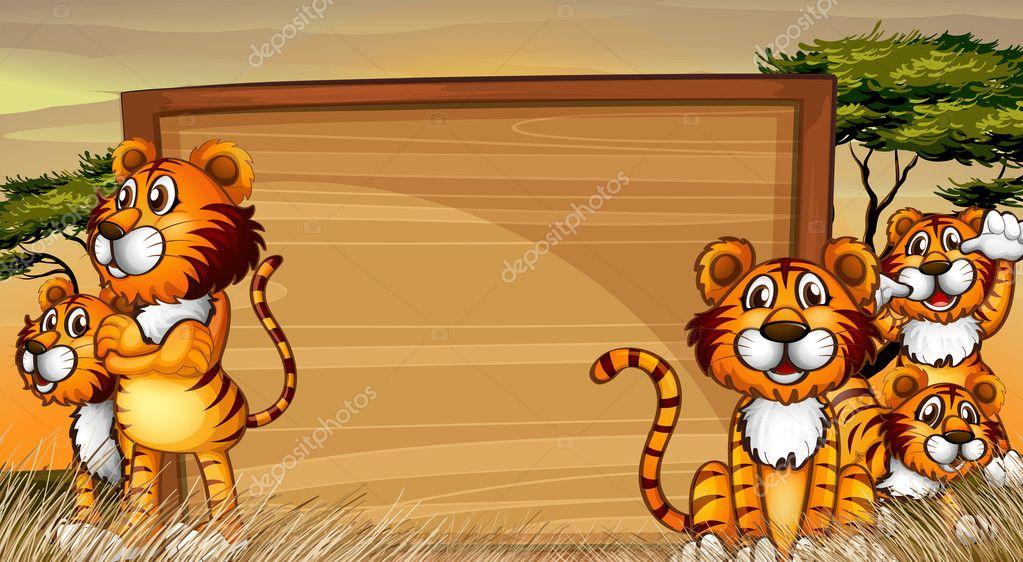Plantilla de marco con tigres en el campo — Archivo Imágenes ...