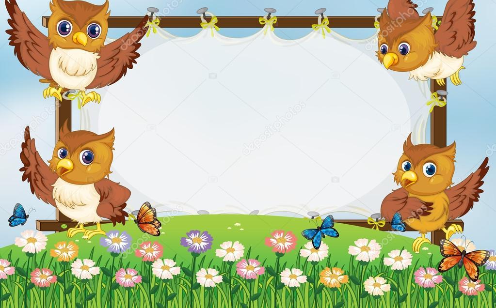 Plantilla de marco con lechuzas volando en el jardín — Vector de ...