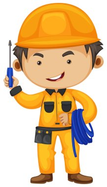 Electrician holding screwdriver and wire