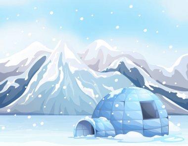 Scene with igloo on snow ground