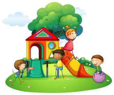 Many children playing on slide