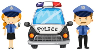 Two police officers by the police car