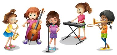 Many kids playing different musical instruments illustration clip art vector