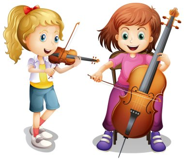 Girls playing violin and cello