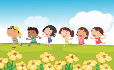 Many kids running around the park