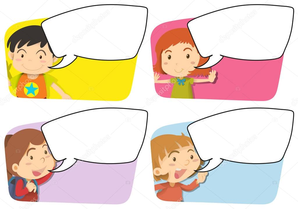 Speech bubble templates with girl and boy — Stock Vector ...