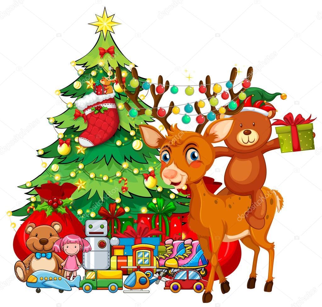 Thema Weihnachten Mit Rentier Und Weihnachtsbaum Stockvektor