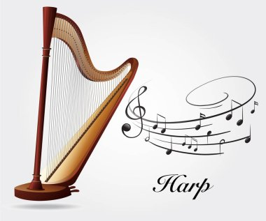 Harp and music notes