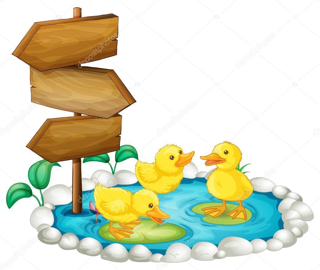 Dibujos estanque con patos dibujo cartel de madera y for Imagenes de estanques para patos