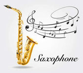 Fotografie Saxophone and music notes on poster