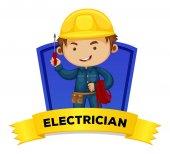 Fotografia Occupazione wordcard con elettricista di parola