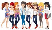 Girls in blue jeans