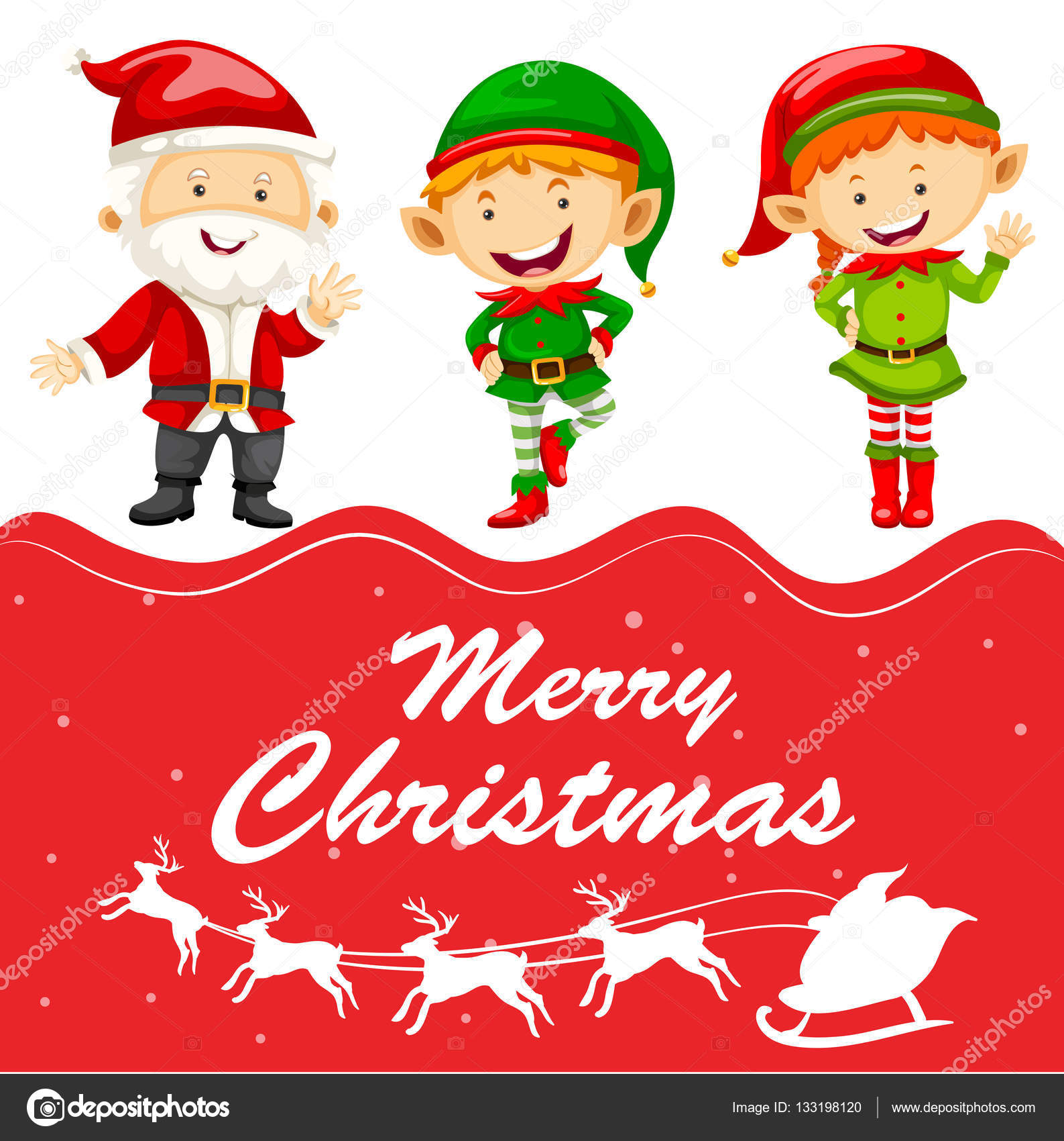 christmas card template with santa and elf illustration vector by interactimages - Elf Christmas Card