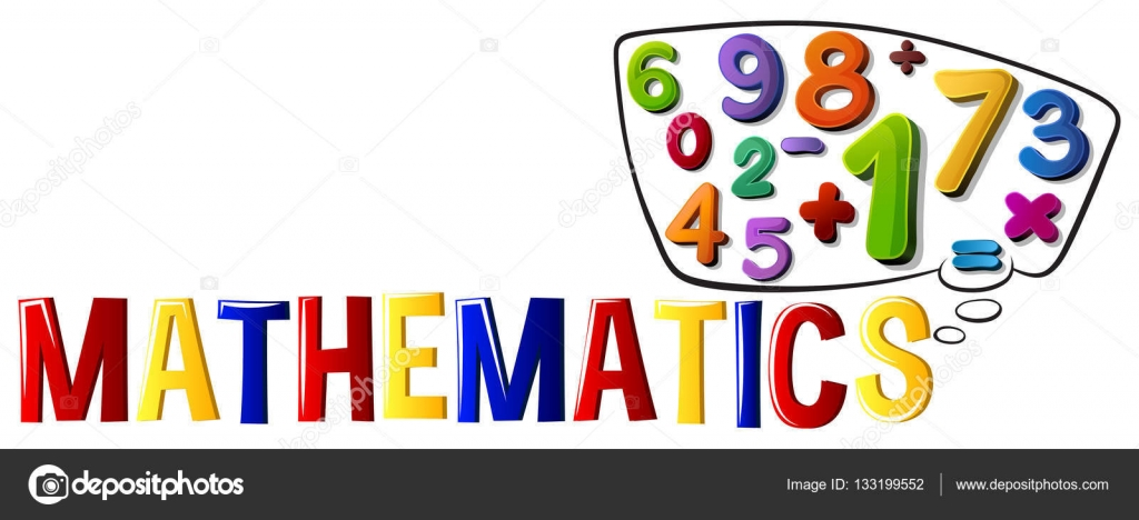 font design with word mathematics stock vector