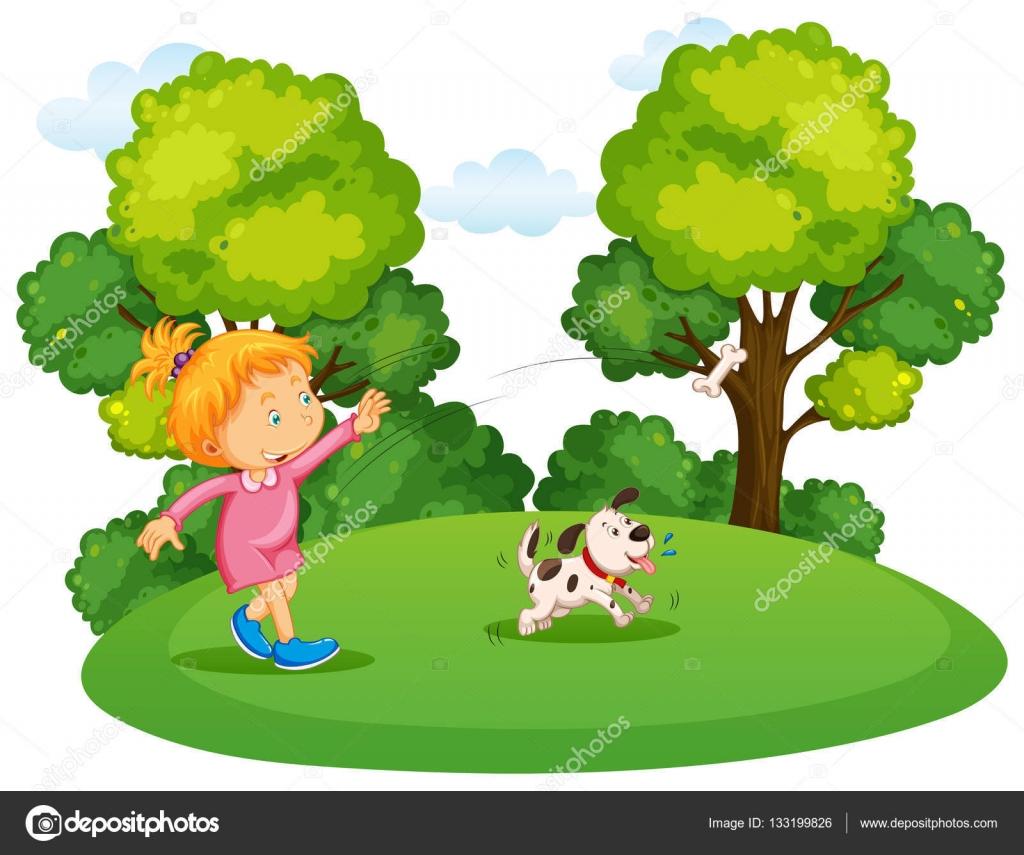 Chica jugando con una polla de perro