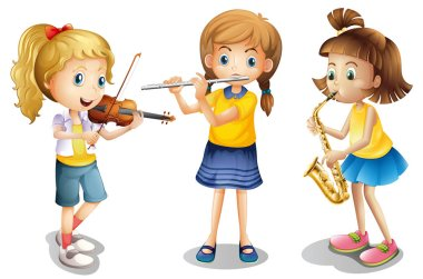 Three girls playing classical instruments