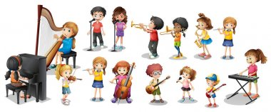 Many children playing different musical instruments