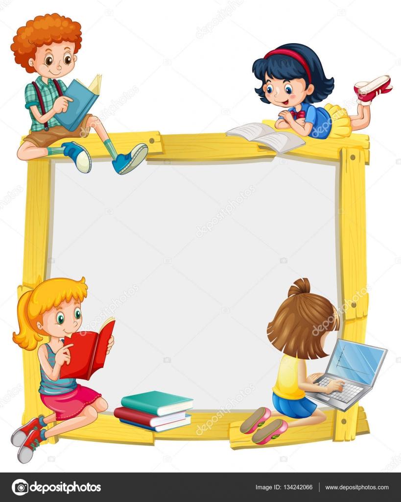 Diseño de la frontera con los niños leyendo y haciendo la tarea ...