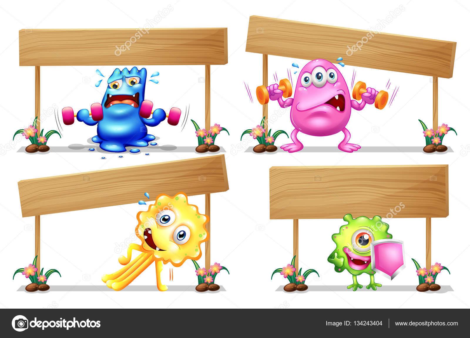 Plantilla cartel de madera cuatro monstruos — Vector de stock ...