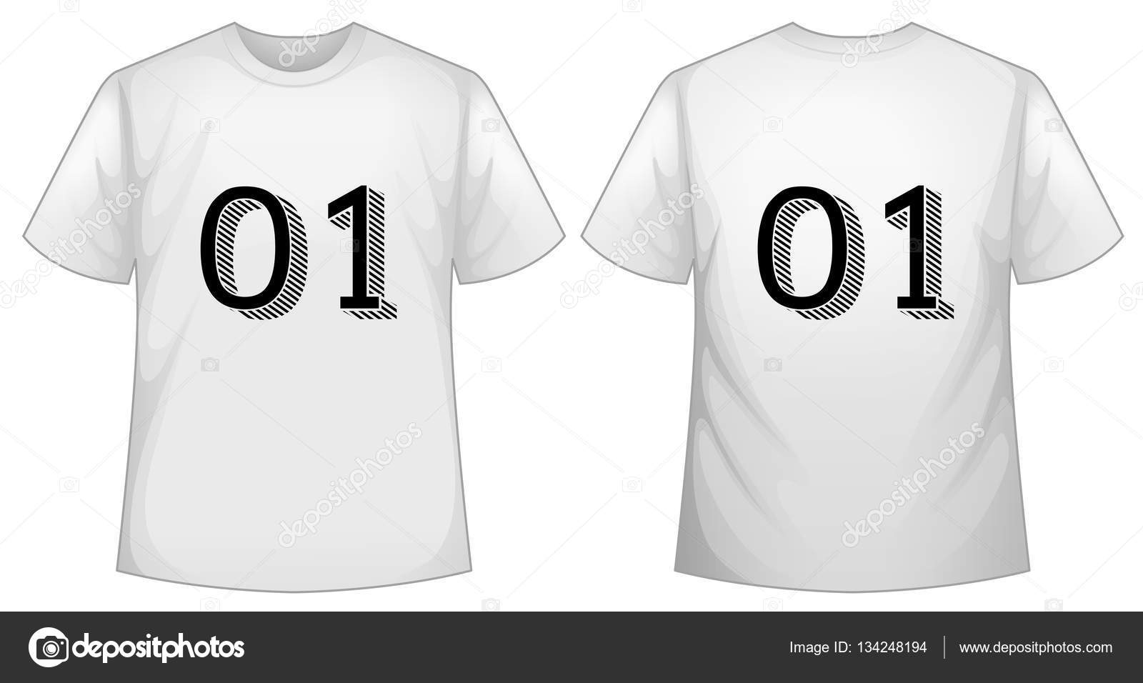 White T Shirt Template With Front And Back Stock Vector