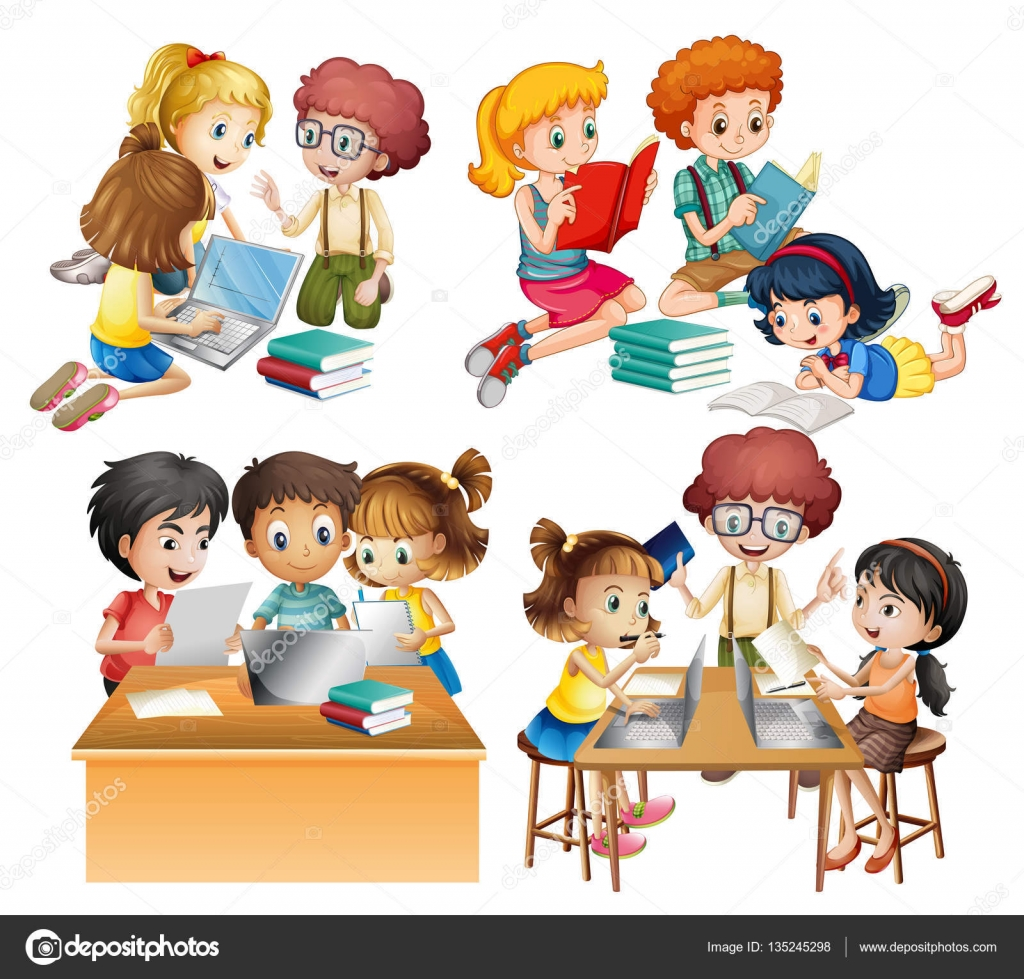 groups of students reading and working on computer — stock vector